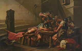 Roman Soldiers Drinking and Gambling