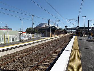 Caboolture railway station - Northbound view from Platform 2 in August 2012