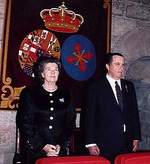 Princess Anne, Duchess of Calabria - Princess Anne and her husband Infante Carlos at a Mass of the Two Sicilian Royal Sacred Military Constantinian Order of Saint George in Barcelona