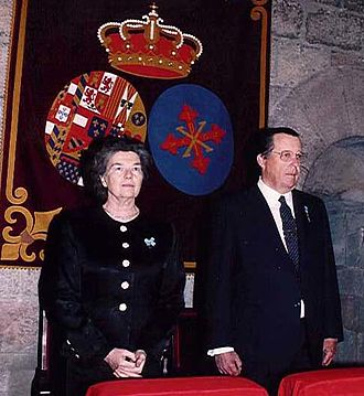 Princess Anne, Duchess of Calabria - With her husband at a Mass of the Constantinian Order in Barcelona