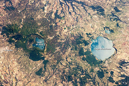View from space of Viterbo and Rome Caldera Lakes to the North of Rome.jpg