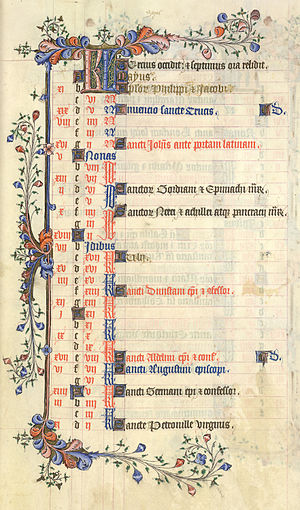 History of calendars - Image: Calendar British Library Add MS 42131 f 3r