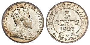 Newfoundland five cents - Image: Canada Newfoundland Edward VII 5 Cents 1903
