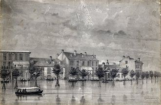 Sauvé's Crevasse - Flooding on Canal Street, New Orleans caused by the crevasse, painted in 1849 by Elizabeth Lamoisse