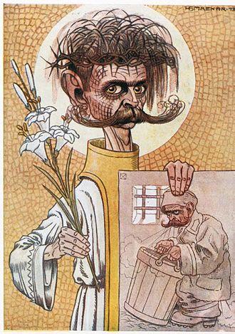 Ivan Cankar - Ivan Cankar as a martyr: caricature by Hinko Smrekar, 1913