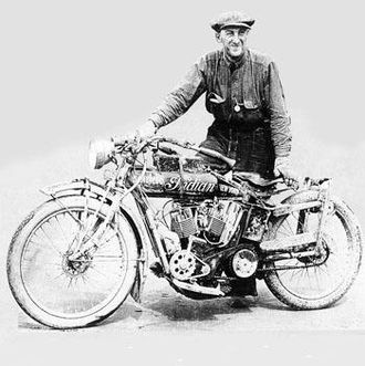 "Erwin Baker - Erwin ""Cannonball"" Baker in New York with his Indian motorcycle after his 1912 international journey."