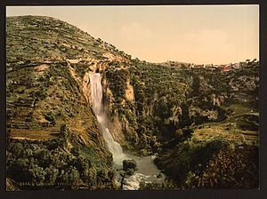 Aniene - Cascade of the river Aniene in Tivoli, 1890.