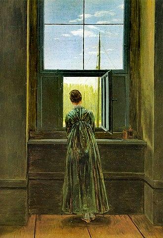 Caspar David Friedrich in his Studio - Woman at the Window (German: Frau am Fenster)