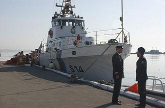 Azerbaijani Navy - An old U.S. Coast Guard 82-foot patrol boat, now part of the Azeri Maritime Brigade, lies at anchor in Baku