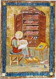 Миниатюра на л. 5 verso Амиатинского кодекса, которым открывается Ветхий Завет. Изображает Ездру в образе монаха-переписчика.