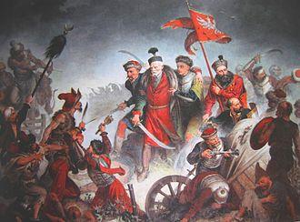 Stanisław Żółkiewski - Death of Stanisław Żółkiewski with his confessor, Father Szymon Wybierski, Battle of Cecora (1620), painting by Walery Eljasz Radzikowski