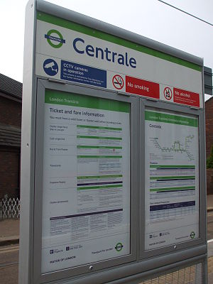 Centrale tram stop - Centrale platform signage