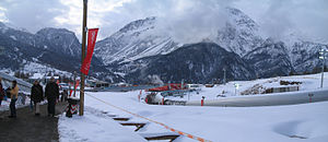 Cesana Pariol - Picture of turns 15 through 19 (right to left) of Cesana Pariol during the 2006 Winter Olympics