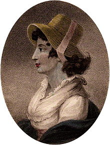 Half-length profile portrait of woman wearing a bonnet
