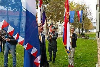 Charles A. Coulombe - 2018, Charles A. Coulombe during a Great War commemoration in Zagreb, organized by Croatian monarchists and nobility