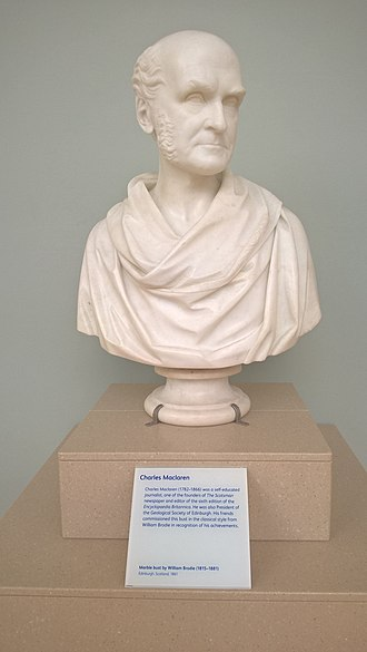 Charles Maclaren - A marble bust of Charles Maclaren, 1861 by William Brodie.  On display in the National Museum of Scotland.