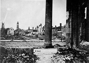 Charleston in the American Civil War - Ruins from the fire of 1861, seen from the Circular Church in Charleston, 1865