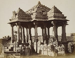 Paliya - Chhatri and Paliyas at Thangadh photographed in 1874 by James Burgess