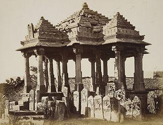 Paliya - Chhatri and Paliyas at Thangadh photographed in 1874 by James Burgess