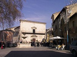 The main square and the church of Santa Maria Assunta in Paganica
