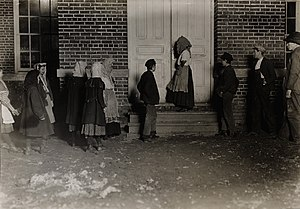 Child labour - Children going to a 12-hour night shift in the United States (1908).