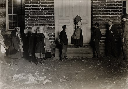 Children going to a 12-hour night shift in the United States, 1908 Child Labor in United States 1908, 12 hour night shifts.jpg