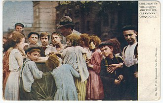 Maxwell Street - 'Children in the Ghetto and the Ice-Cream Man' postcard circa 1909