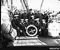 Chilean naval crew on the deck of GENERAL BAQUEDANO, July 1931 (7168172200).jpg