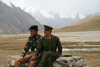 Karakoram - Chinese and Pakistani border guards at Khunjerab Pass