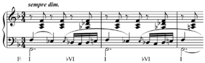 Souvenir de Hapsal - Image: Chromatic mediant from Tchaikovsky's Chant sans paroles mm. 43 45