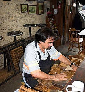 Cigar maker. Hand made cigar shop on Decatur S...
