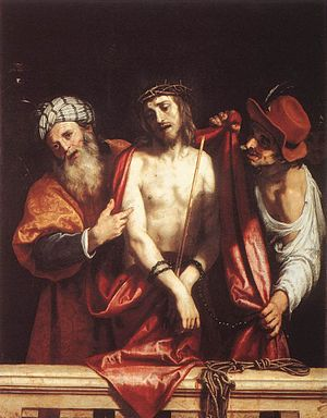 Ecce Homo (Caravaggio) - Ecce Homo, Cigoli, 1607. Pitti Palace, Florence. Cigoli, in his most famous painting, has deliberately adapted his own lyrical style to Caravaggio's more dramatic realism.