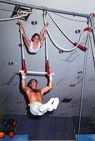 Static trapeze - 10-year-old learns Bird's Nest in the ropes at Circus School
