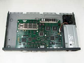 Cisco 2500 series - Cisco 2503 with top cover removed.