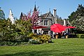 City of London Cemetery and Crematorium ~ Café patio garden red umbrellas 01.jpg