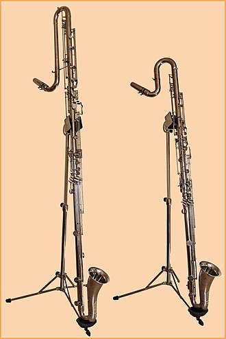 Contrabass clarinet - A contrabass clarinet (left) compared to a contra-alto clarinet (right).