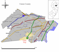 Map of Clark Township in Union County. Inset: Location of Union County in New Jersey.