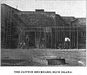 Three workers posing outside one of the sheds of the Clifton Brickyard in 1901
