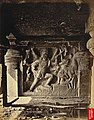Close view of sculpture of eight-armed Shiva at the north end of the verandah of the Dumar Lena rock-cut temple, Ellora, by Henry Mack Nepean, 1868.jpg