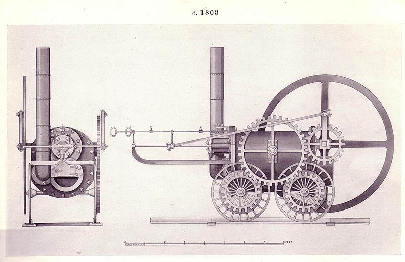 Dibujo de la locomotora de Trevithick de 1802.