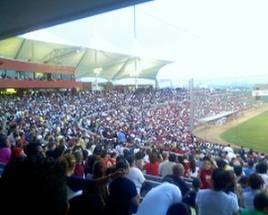 Cohen Stadium - View of the record-breaking crowd at Cohen Stadium on July 4th, 2008. There were an estimated 13,209 people attending the game-the highest attendance ever in the stadium.