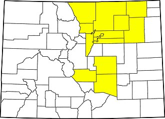 2013 Colorado floods - Disaster emergencies have been declared by the governor in 14 counties (highlighted) in Colorado.