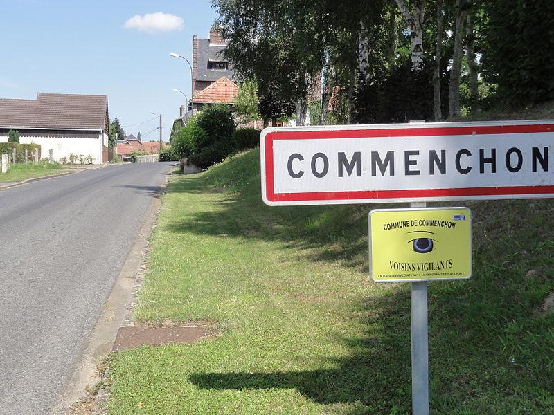 Commenchon (Aisne) city limit sign