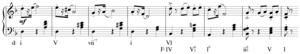 Modulation (music) - Image: Common chord modulation in Tchaikovsky, Mazurka Op. 39, No. 10