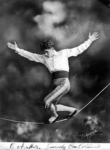 Con Colleano on a slack-wire, circa 1920.jpg