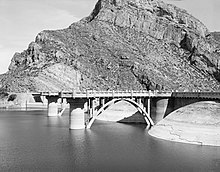The Upstream face of Coolidge Dam, from the Historic American Engineering Record