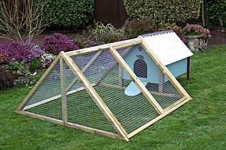 Chicken coop - A henhouse atffixed to an 'A-frame' enclosure