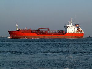 Coral Meandra IMO 9129380 leaving Port of Rotterdam, Holland 09-Jan-2006.jpg