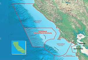 Cordell Bank National Marine Sanctuary - Area map of the sanctuary. The coast of California is to the upper right, and the administrative centre, located on the granite outcropping, adjacent to it. The actual sanctuary is further left, and colored darker blue.
