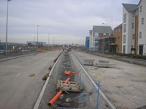 Expansion plans for Milton Keynes - A new 'city street' under construction in Broughton Gate, Eastern Expansion Area.